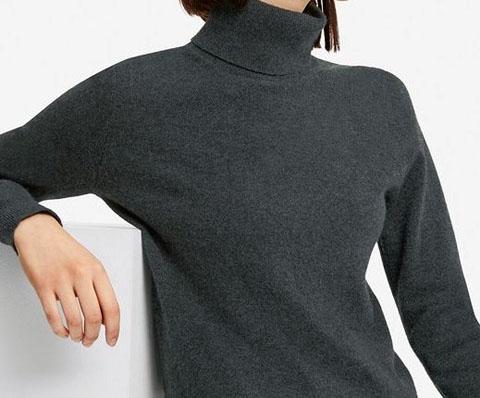 カシミヤタートルネックセーター(長袖)、08 DARK GRAY
